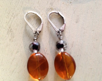 Amber Colored Glass Earrings