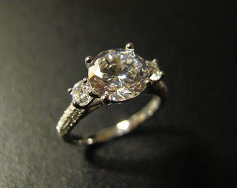 Classic Designer Inspired Engagement Ring, Made to Order, Simulated Diamond, CZ Ring, Sterling Silver, #MR085