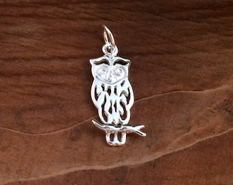 Owl Charm, Owl Pendant, Sterling Silver Owl Charm, Sterling Silver Owl Pendant, Jewelry Findings, Sterling Silver Charms, PS0266