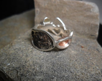 "Sterling silver ring, yellow gold and copper ""with variable mood"" with diamond"