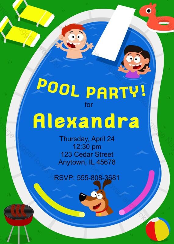 Schwimmbad Geburtstag Einladung   Druckbare Design, Anpassbare, Instant  Download Für Jungen Oder Mädchen Birthday Party
