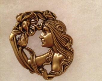 Vintage Art Nouveau Style Poppy Goddess Pin
