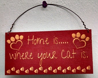Sign, Cat sign, Home is Where your Cat is, mini sign
