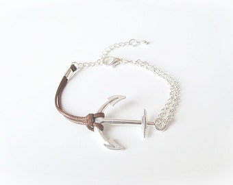 anchor bracelet, silver anchor bracelet, rose gold anchor bracelet, rose Gold/Silver Tone Chain, anchor symbol,  fashion anchor bracelet