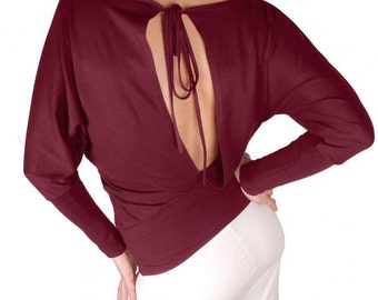 Cut out back , Open back, Boat neckline batwing dolman long sleeve blouse top shirt