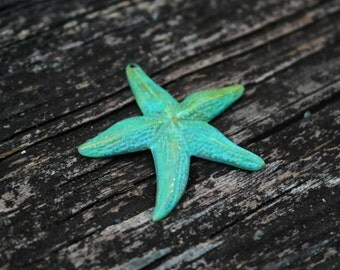 Hand Patina Starfish Pendant, Brass Starfish, Brass Findings