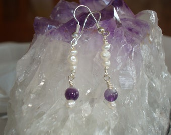 Cute amethyst and freshwater pearl earrings