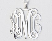Center Loop Monogram necklace - 1.25 inch Personalized Monogram - 925 Sterling silver