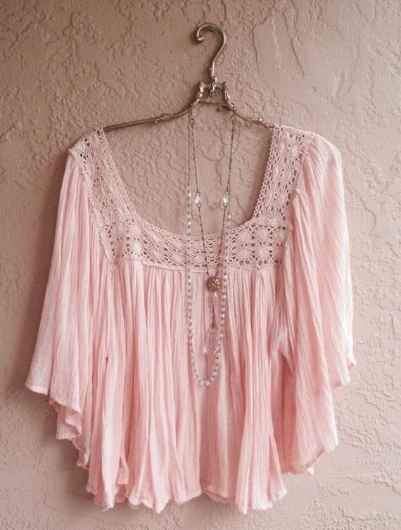 Peach Gauze Cape sleeve with crochet design  peasant crop top bohemian hippie gypsy summer girl