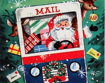 Retro Special Delivery Santa Christmas Card #18 Digital Download