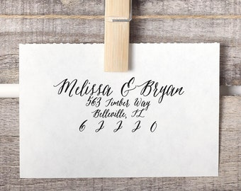 Custom Address Stamp, Return Address Stamp, Calligraphy Stamp Style No. 36
