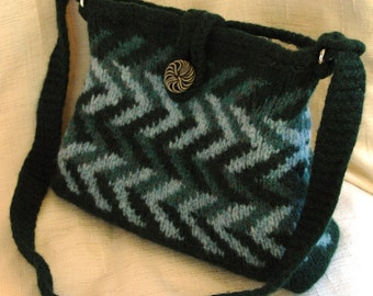 Chevron Crossbody Bag Messenger Bag Knitted Felted Wool Shoulder Bag with Vintage Button