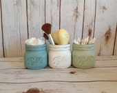 LARGE Elite JARS-Set of Three Painted and Distressed Mason jars. French Country. Cosmetic Bridal Shower Gift. Shabby Chic.  Rustic Bathroom.