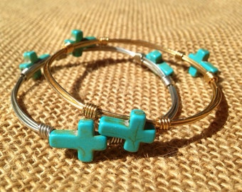 Hawthorne Turquoise Cross Wire Wrapped Bangle