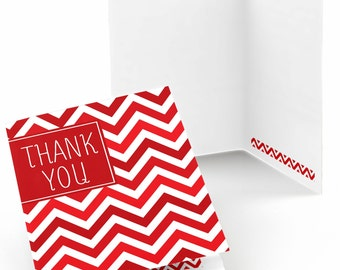 Set of 8 Thank You Cards - Red Chevron Greeting Card