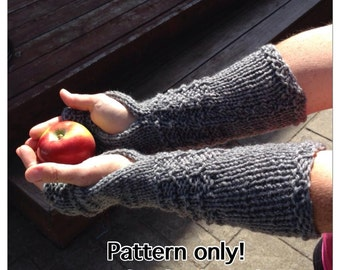 Claire Mitts PATTERN, Fingerless Gloves, Handmade, Knit, Wrist Warmers, Texting Gloves, Arm Warmers