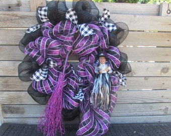 """24"""" Halloween Wreath- Witch Wreath- Witch's Broom Wreath- Halloween Decor- Witch Decor- Purple Black Deco Mesh Wreath-Halloween Witch Wreath"""