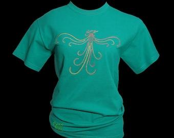 Phoenix Embroidery Jade Green Tshirt. Plus Size Clothing. Birthday Christmas Unusual Gift Idea Fantasy Art Tee T Shirt Womens Clothes Top UK