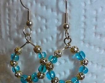 women's earrings Blue Ice  beaded dangle earrings