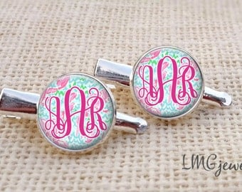 Lilly Pulitzer Inspired Hairclips ,Monogram Lilly Pulitzer Hairclips, Lobstah Roll Lilly Pulitzer, Silver Lilly Pulitzer Hairclips