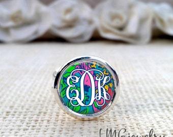 Lilly Pulitzer Inspired Ring ,Monogram Lilly Pulitzer Ring, Lilly Ring, Silver Lilly Pulitzer Ring, Shake Your Tailfeather