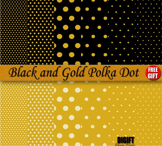 Black and Gold polka dot digital paper clipart background Gold polka dots birthday party decorations invitation printable wrapping paper art