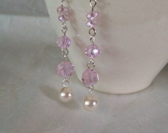 White Pearl Earrings ~ Glass Pearl Drop Earrings ~ Wire Wrapped Earrings ~ Pink Bridal Pearl Earrings ~ Pink Crystal Pearl Drop Earrings