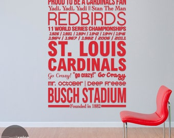 St. Louis Cardinals Baseball Sports Subway Art Vinyl Wall Decal Sticker