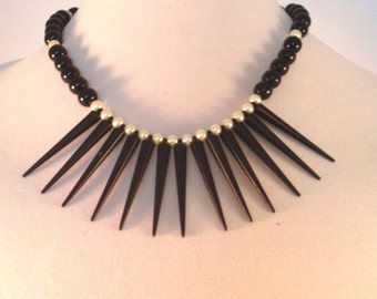 Black and White Spike Bead Statement Necklace