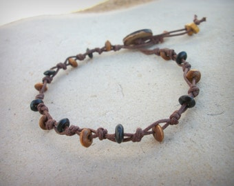 Anklet wood & cord with button fastening ⁓ summer beach accessory