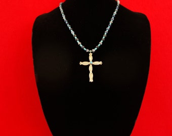 Sterling Silver Cross w/ Turquoise Stone