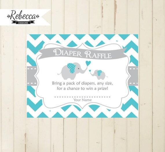 elephant diaper raffle boy baby shower card matching elephant diaper