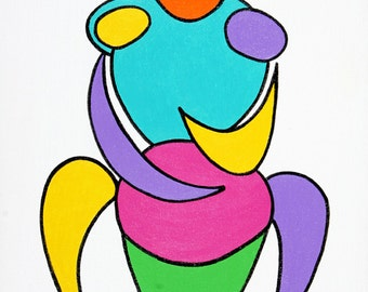 Figurative abstract of Brazilian man playing a drum in vibrant colors.