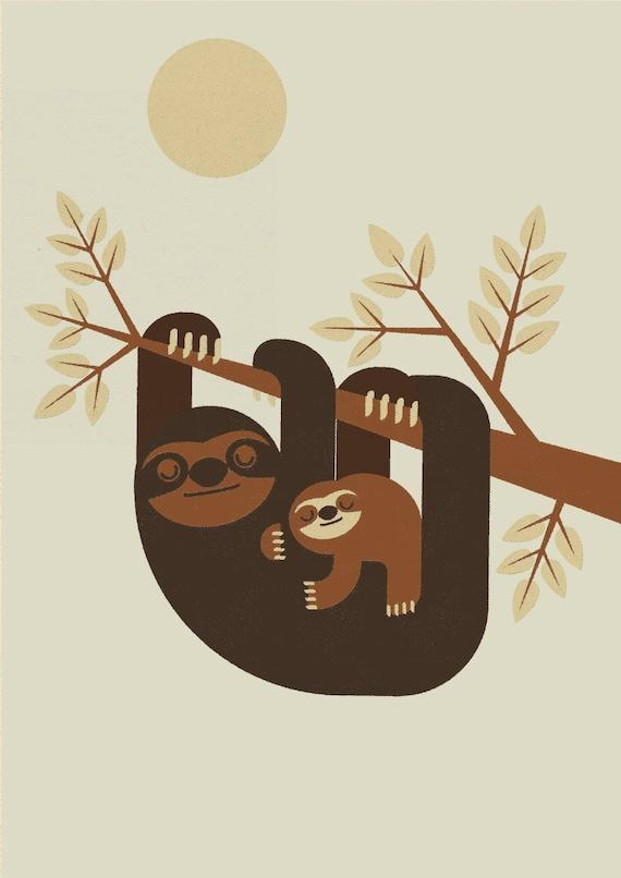 Sloth and Baby, Retro Print, Wall Art, Home Decor