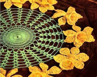 Daffodil Crochet Doily Pattern Retyped Large Print Pattern PDF # cc258-d-214