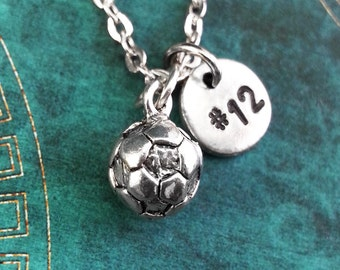 Soccer Necklace, SMALL Initial Necklace Personalized Necklace Pendant Necklace Custom Necklace, Football Charm Necklace Monogram Soccer Ball