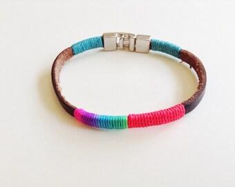 Brown Leather bracelet, Bohemian Leather Bracelet, Neon leather cuff, Brown Leather Wristband, Wax cord, Friendship bracelet