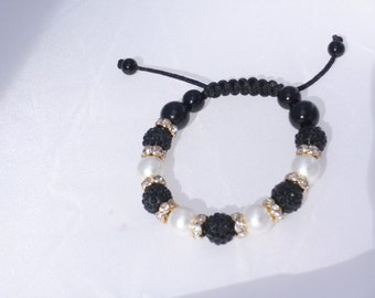 Shamballa Bracelet, Black and White Pearl Bracelet