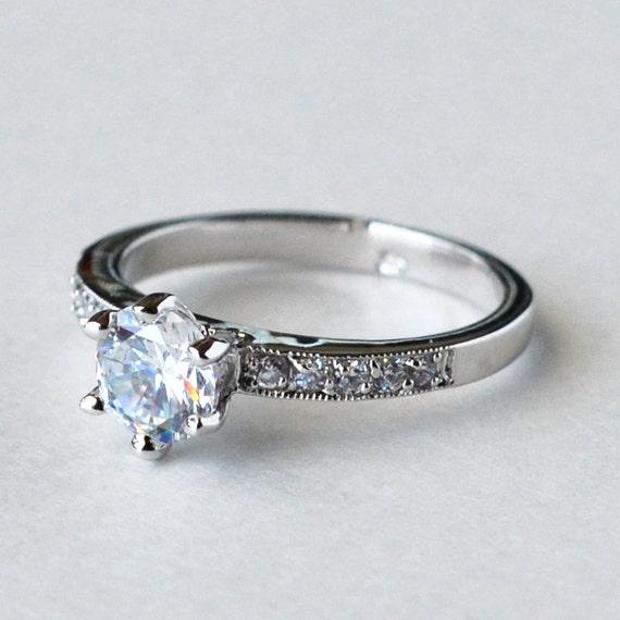 Cz Ring Cz Wedding Ring Cz Engagement Ring Cubic Zirconia