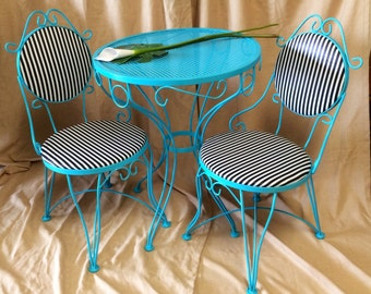 Vintage metal bistro set 2 chairs and small table iron teal patio