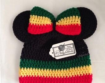 Rasta Minnie/Mickey Mouse Ears Beanie