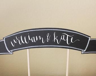 chalkboard calligraphy cake topper banner : custom