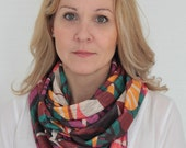 Jersey knit infinity loop scarf, cowl, summer scarf, fashion scarves, ethnic design, multicolor