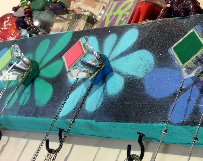 Reclaimed Necklace hanger /organizer jewelry storage jewelry display /wood coat rack flowers teal 4 hooks 5 colorful hand-painted knobs