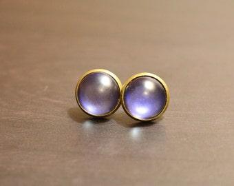 Indigo Shimmer Earrings - Antique Bronze Stud Earrings