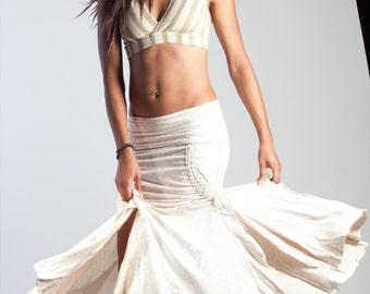 Cream Victorian Steampunk Flamenco Skirt