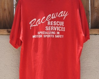 Vintage 1980s Red Polo Shirt  by Stedman - Raceway Rescue Services