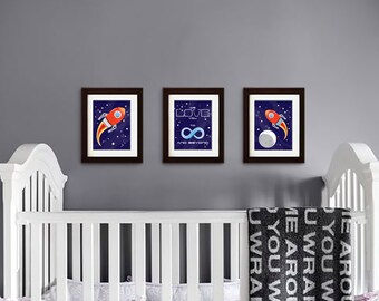 Rocket print, Nursery Print, Space print, Space ship print, To infinity and beyond, Outspace print, Item 005