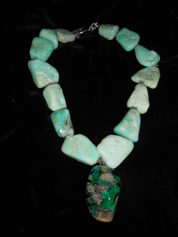 "Green Piece - 17"" Chrysoprase and Lampwork Bead Necklace w/Sterling Silver Clasp"