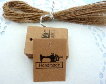 25 Brown Kraft Paper'Handmade' Gift Tags Price Tag